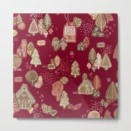 Hansel and Gretel Fairy Tale Gingerbread Pattern Metal Print