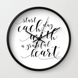 HOME OFFICE DESK, Start Each Day With A Grateful Heart,Office Sign,Quote Prints,Motivational Poster Wall Clock