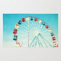 ferris wheel Area & Throw Rugs featuring Ferris Wheel by Mina Teslaru