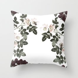 Blackberry Spring Garden - Birds and Bees Floral IV Throw Pillow
