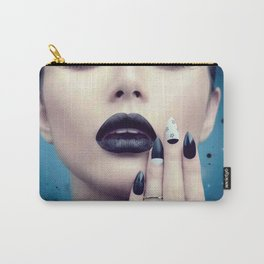 Fashion model girl with trendy gothic black Carry-All Pouch