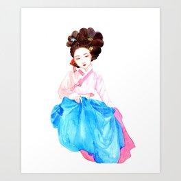 Watercolor Korean beauty - Pink&Blue Art Print