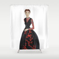 valentina Shower Curtains featuring Fashion Illustration Valentina coral couture dress by Cinnamoncafexx