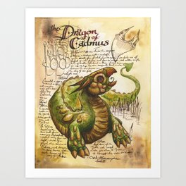 Cadmus' Dragon from the Field Guide to Dragons Art Print