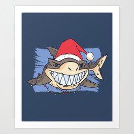 Christmas Shark Art Print