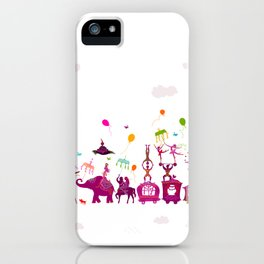 colorful circus carnival traveling in one row on white background iPhone Case