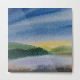 Mountain and Sea 5 / Watercolor Painting Metal Print