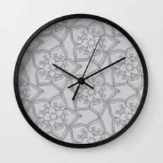 Silver gray lacey floral 2 Wall Clock