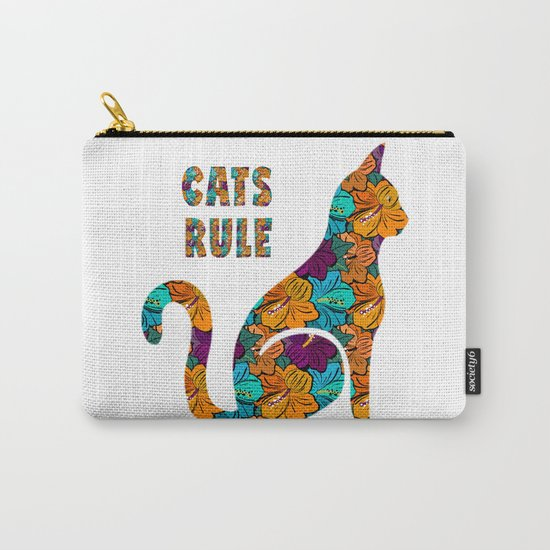 Cats Rule Silhouette With Hibiscus Flowers Carry-All Pouch