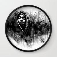 2pac Wall Clocks featuring 2Pac Illustration by Skillmatik by Mr Skillmatik