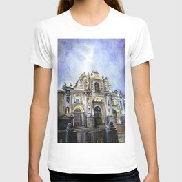 Baroque Cathedral at dawn in city of Antigua, Guatemala T-shirt