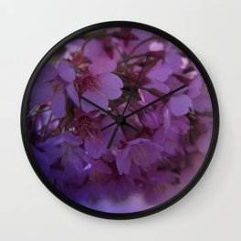 Prunus spinosa on texture - the signs of spring Wall Clock