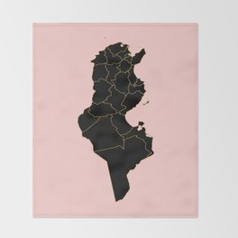 Tunisia map Throw Blanket