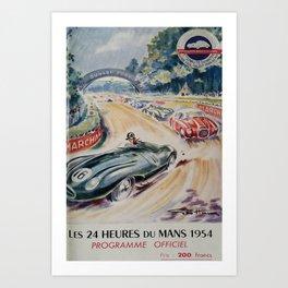 1954 Le Mans poster, Race poster, car poster, programme officiel Art Print