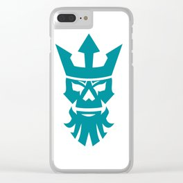 Poseidon Skull Wearing Crown Icon Clear iPhone Case