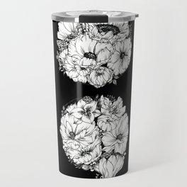 floral semicolon monochrome Travel Mug