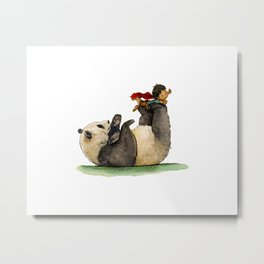 Boy meets Panda Metal Print
