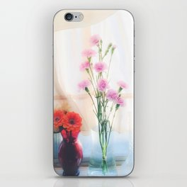 pink flower and orange flower in the vase with curtain background iPhone Skin