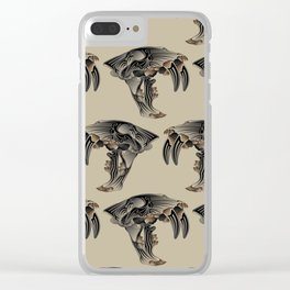 Ancient Warrior (Sabertooth Skull) Clear iPhone Case