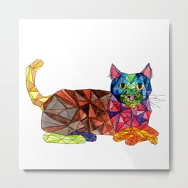 Colourful Geomatric Cat Metal Print