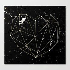 Astronaut Found Love in Space Canvas Print