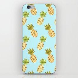 Blue Tropical Pineapple Pattern iPhone Skin