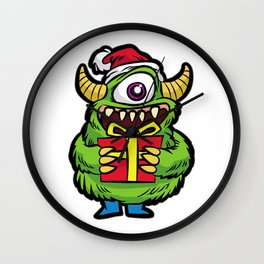 CUTE CHRISTMAS MONSTER WITH PRESENT Wall Clock