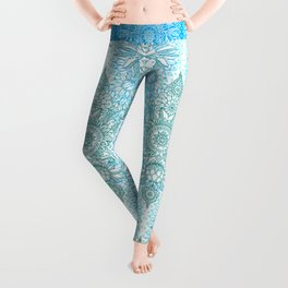 Turquoise Blue, Teal & White Protea Doodle Pattern Leggings
