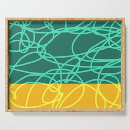 Chaos Lines On Green Yellow Horizon Minimal Abstract Art Deneb Serving Tray