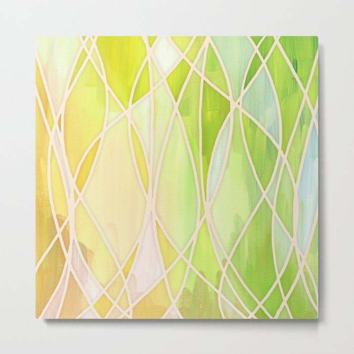 Lemon & Lime Love - abstract painting in yellow & green Metal Print