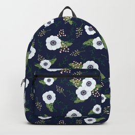 Anemone Floral Pattern Navy Blue Backpack