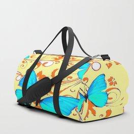 DECORATIVE BLUE BUTTERFLIES YELLOW FLORAL PATTERN Duffle Bag