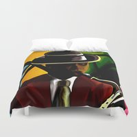 saxophone Duvet Covers featuring Player With Candy Dancers by The Peanut Line