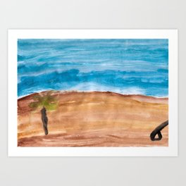 At the Beach, minimal art - without sunshine, without clouds Art Print