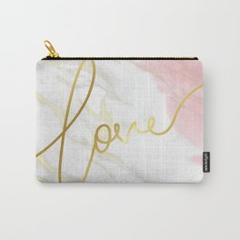 Love | Gold Framed Typography on Pink Water Colour Marble Carry-All Pouch