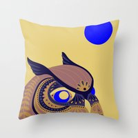 anaconda Throw Pillows featuring Night Owl by Polkip