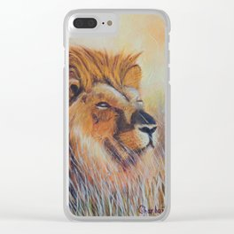 Lion sun bathing | Bain de soleil Lion Clear iPhone Case