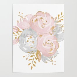 Roses Gold Glitter Pink by Nature Magick Poster