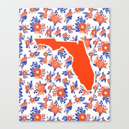Florida University silhouette orange and blue pattern sports football college gators gator fan Canvas Print
