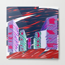 City Sketches and Red Skies Metal Print