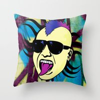 punk Throw Pillows featuring PUNK!!! by Denis Marsili DDTK