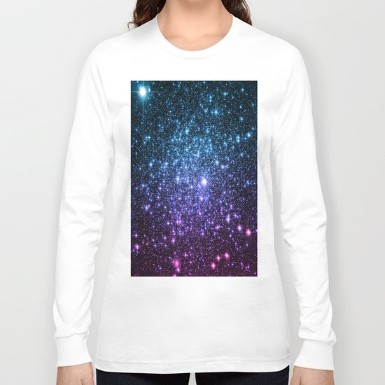 Galaxy Stars : Teal Violet Pink Ombre Long Sleeve T-shirt