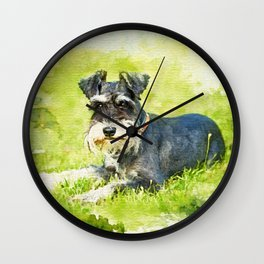 Miniature Schnauzer Watercolor Digital Art Wall Clock