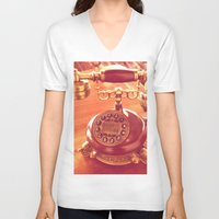 telephone V-neck T-shirts featuring old telephone by gzm_guvenc