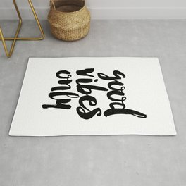 Good Vibes Only black and white typography poster black-white design home decor bedroom wall art Rug