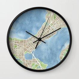City Map Madison Wisconsin watercolor  Wall Clock