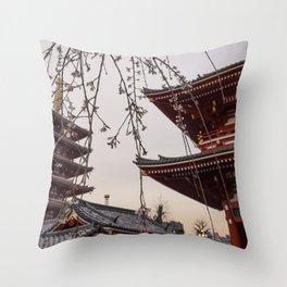 Blossoms and Pagodas Throw Pillow
