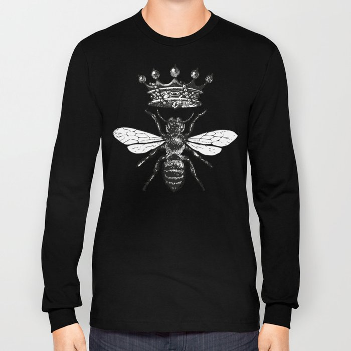 Queen Bee | Vintage Bee with Crown | Black and White | Long Sleeve T-shirt