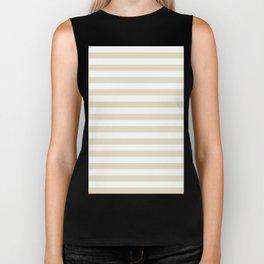 Narrow Horizontal Stripes - White and Pearl Brown Biker Tank