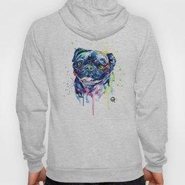 Pug Watercolor Pet Portrait Painting Hoody
